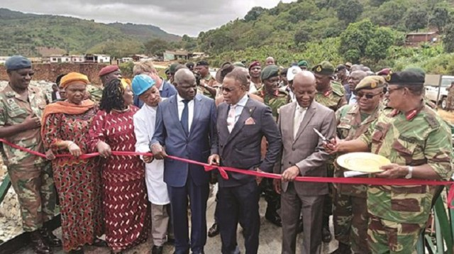South African National Defence Forces (SANDF) and their Zimbabwe National Army (ZNA) counterparts are with vice president Constantino Chiwenga commissioning Bailey bridge at Kopa in Chimanimani. The bridges were fully sponsored by South African government. Photo, Herald