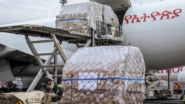 Coronavirus medical supplies from Jack Ma Foundation and Alibaba Foundation that landed in the Ethiopian capital Addis Ababa.
