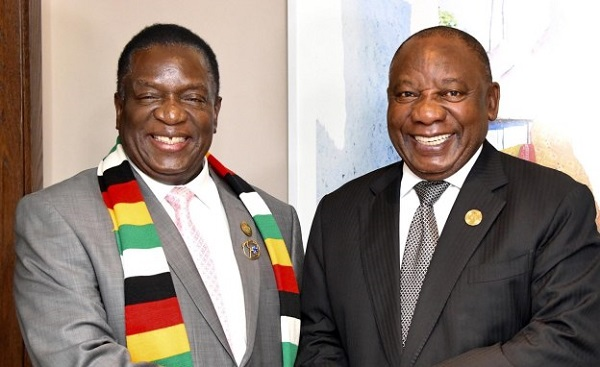 Zimbabwean president Emmerson Mnangagwa and his South African counterpart, Cyril Ramaphosa