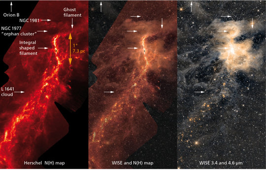 Figure 1: Images of the Orion A star-forming cloud, showing the integral-shaped filament, the two star clusters outside the filament, and the cloud L1641 to the South. Left: (column) density map reconstructed from Herschel data, right: infrared image taken with the WISE space telescope (Lang 2014), center: combination of the two.