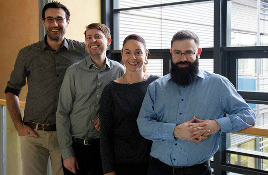<p>KLAS-Team, from left to right: Rodrigo Perez-Garcia (MPIKG/TU-Berlin), Dr. Tom Robinson (MPIKG), Katja Schulze (MPIKG), Dr. Arren Bar-Even (MPIMP)</p> <p><br /></p>
