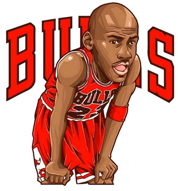 Michael Jordan 23 Cartoon Print