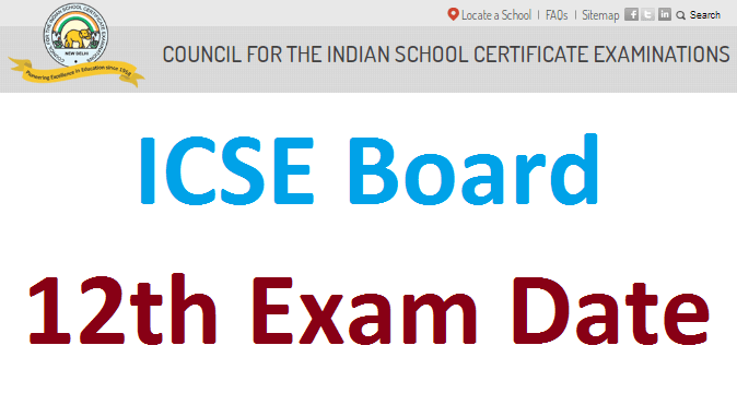 ICSE 12th time table