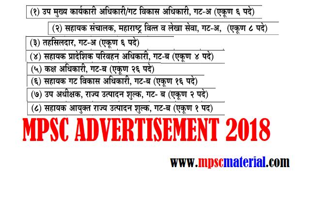 MPSC ADVERTISEMENT 2018