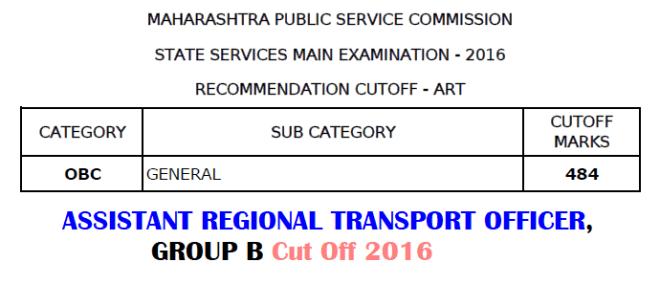 MPSC ARTO Cut Off 2016
