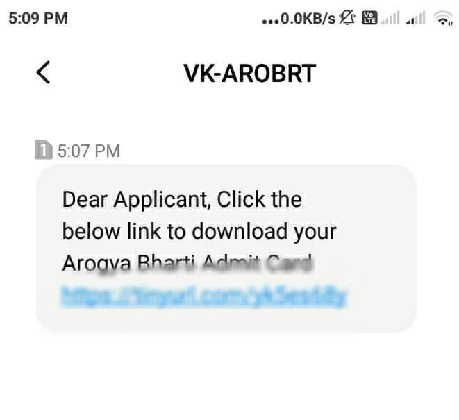 Arogya Bharti 2021 Hall ticket