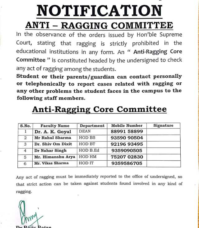 ANTI RAGGING NOTICE