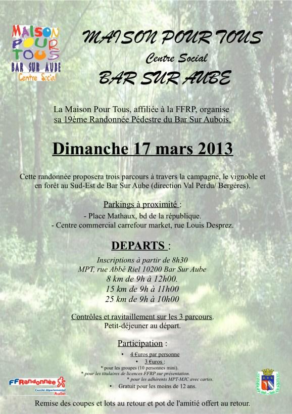 Dimanche 17 mars: 19ème randonnée pédestre du Bar Sur Aubois