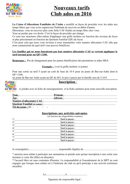fiche inscription