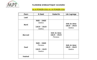 planning GV Vacances Février 2016