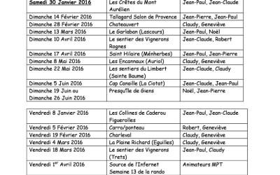 Planning prévisionnel randonnées 2015/2016