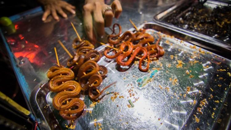 柬埔寨恐怖食物 (蜘蛛、青蛙、蟋蟀、蛇)