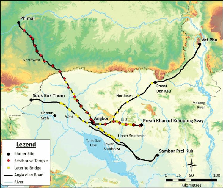 学者 Mitch Hendrickson 根据古代碑文所描绘出的帝国道路图