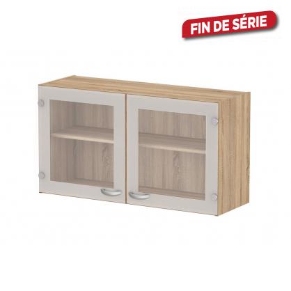 meuble de cuisine haut casa chene avec portes vitrees mr bricolage