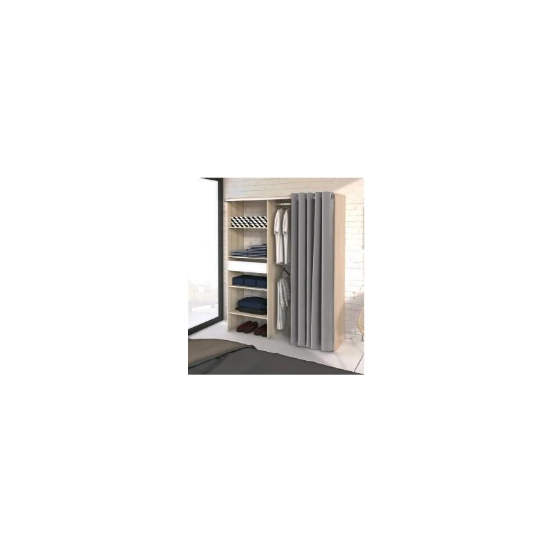 placard avec rideau bali acacia et blanc 143 4 cm ekipa mr bricolage