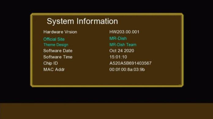 GX6605S HW203 F1 F2 RECEIVER GOLDEN MENU SOFTWARE