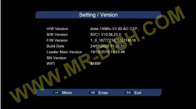SUNPLUS 1506TV 8M Software Version Information