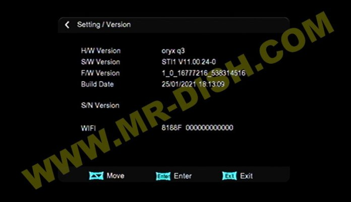 ORYX M5 1506TV 4M NEW SOFTWARE INFORMATION