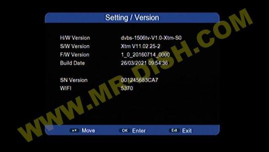 MARVEL 1506TV 4M XTM MENU Software Version Information