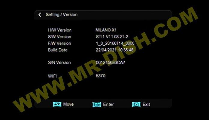 MILANO X1 1506TV SW Version
