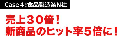 Case4:食品製造業N社 売上30倍!新商品のヒット率5倍に!