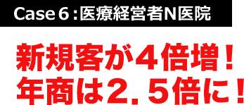 Case6:医療経営者N医院 新規客が4倍増!年商は2.5倍に