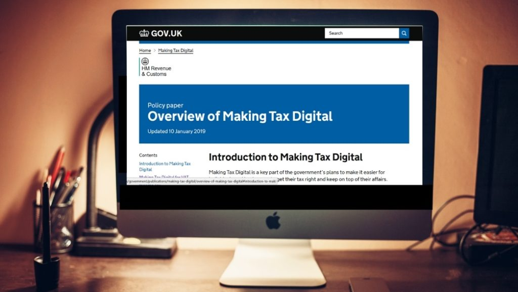UK Gov Website on a Computer Screen looking at the Making Tax Digital Page