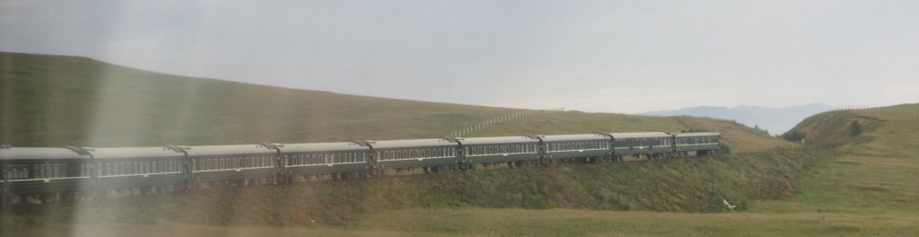 The train going around a bend in Mongolia