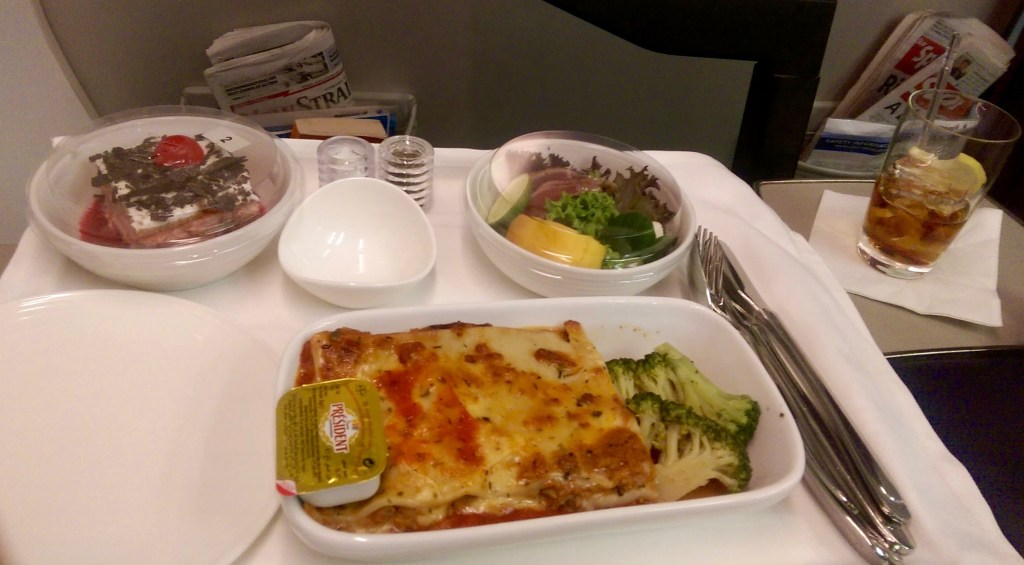 Dinner on MAS Business Class