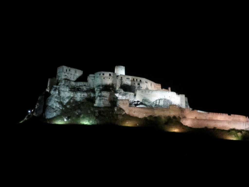 Spis Castle at night, still viewed from my accommodation!
