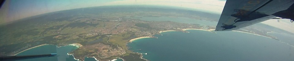 View just before skydiving over a Sydney beach