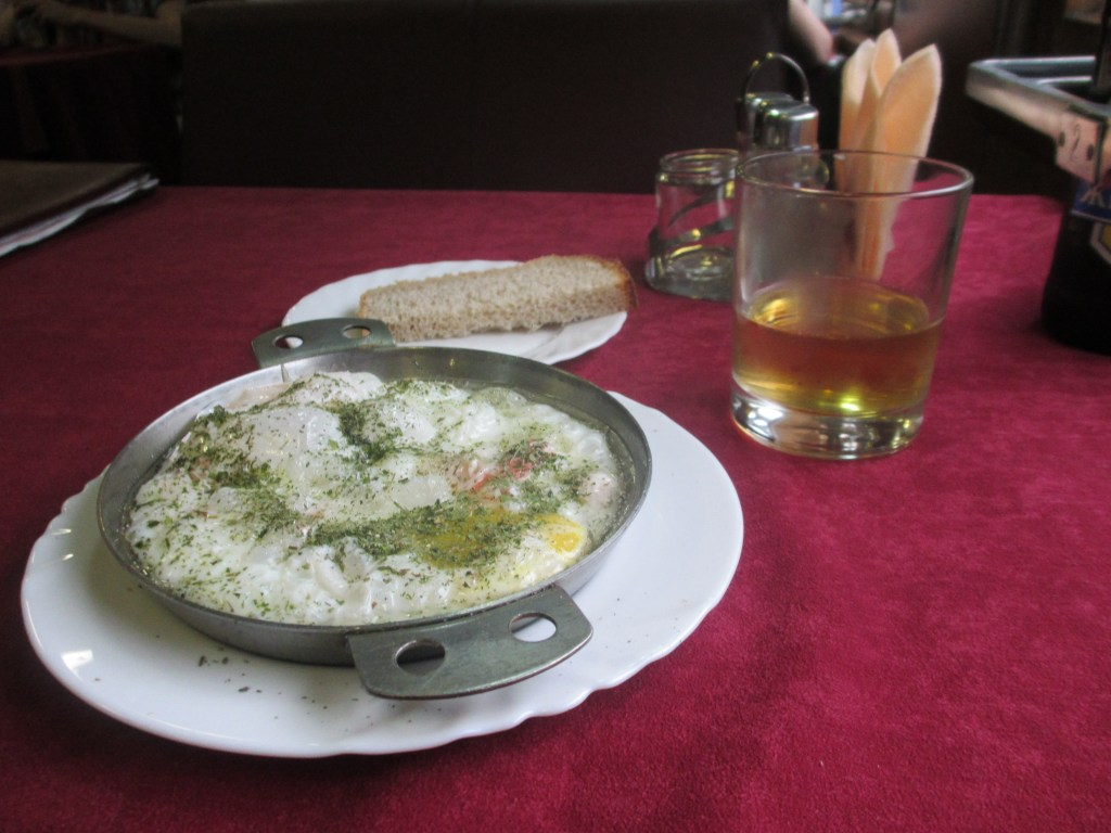 A meal in the dining car of the Trans-Siberian