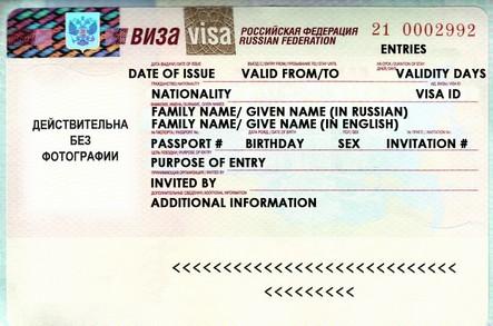Example Russian Visa