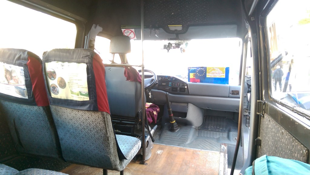 On board the bus to Chisinau Airport