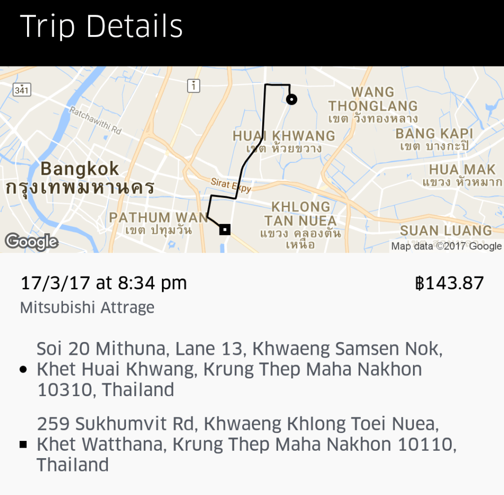 Our First Uber in Thailand