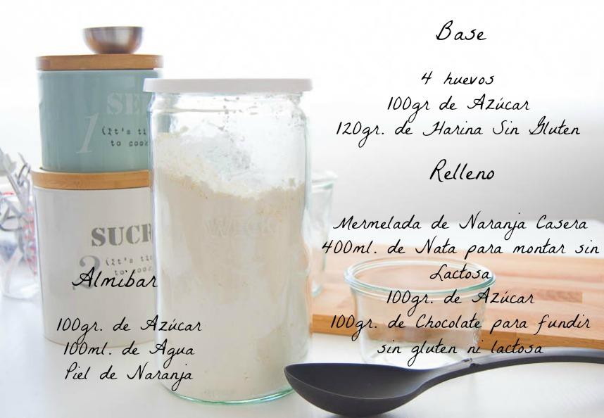 Ingredientes Tronco de Navidad sin gluten y sin Lactosa
