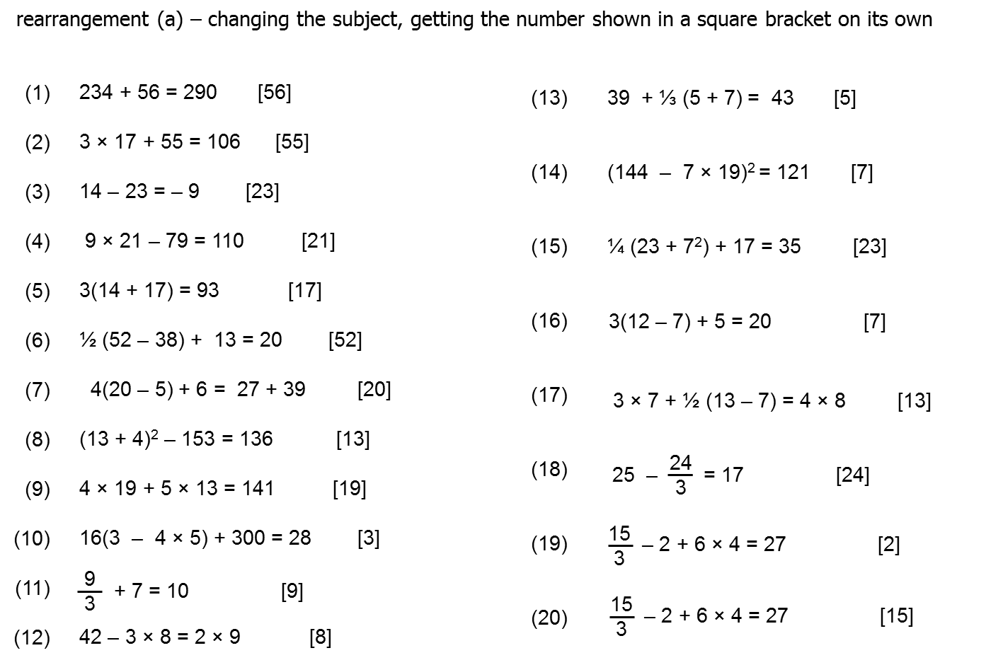 Question Of The Week 4 Rearranging Formula