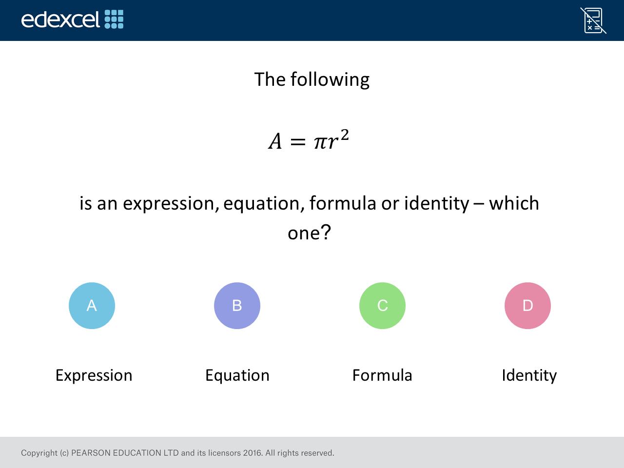 Expression Formula Identity Equation Foundation Higher