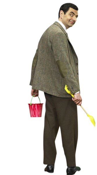 Mr Bean holding a bucket and spade.