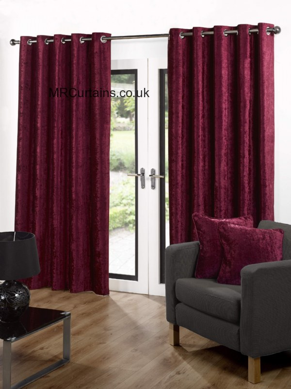 Sundour Velvet Eyelet Heading Curtain From 3974 In Red