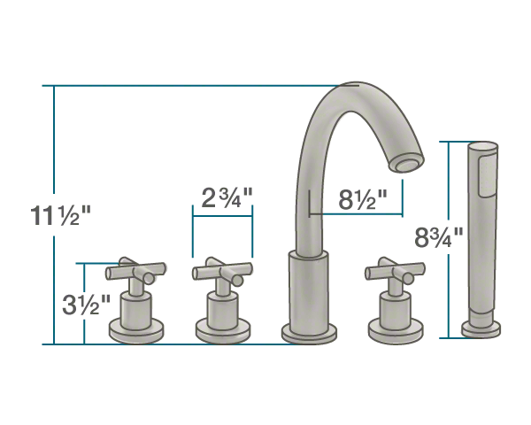 716 bn brushed nickel roman tub faucet with body spray