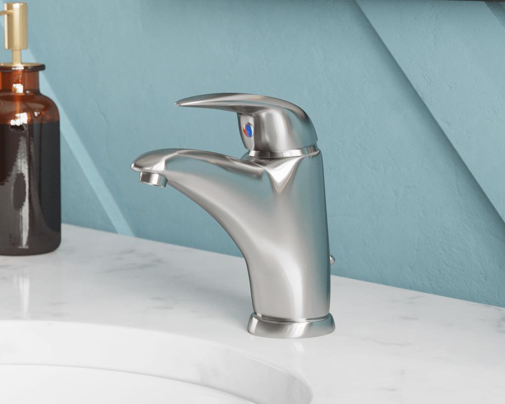 722 bn brushed nickel single handle bathroom faucet