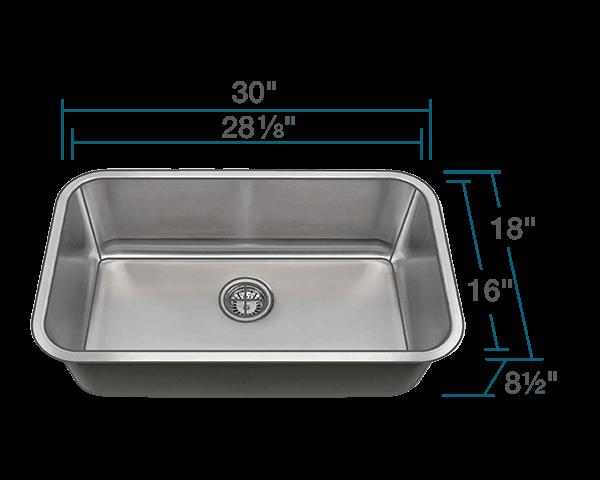 3018 single bowl undermount stainless steel sink