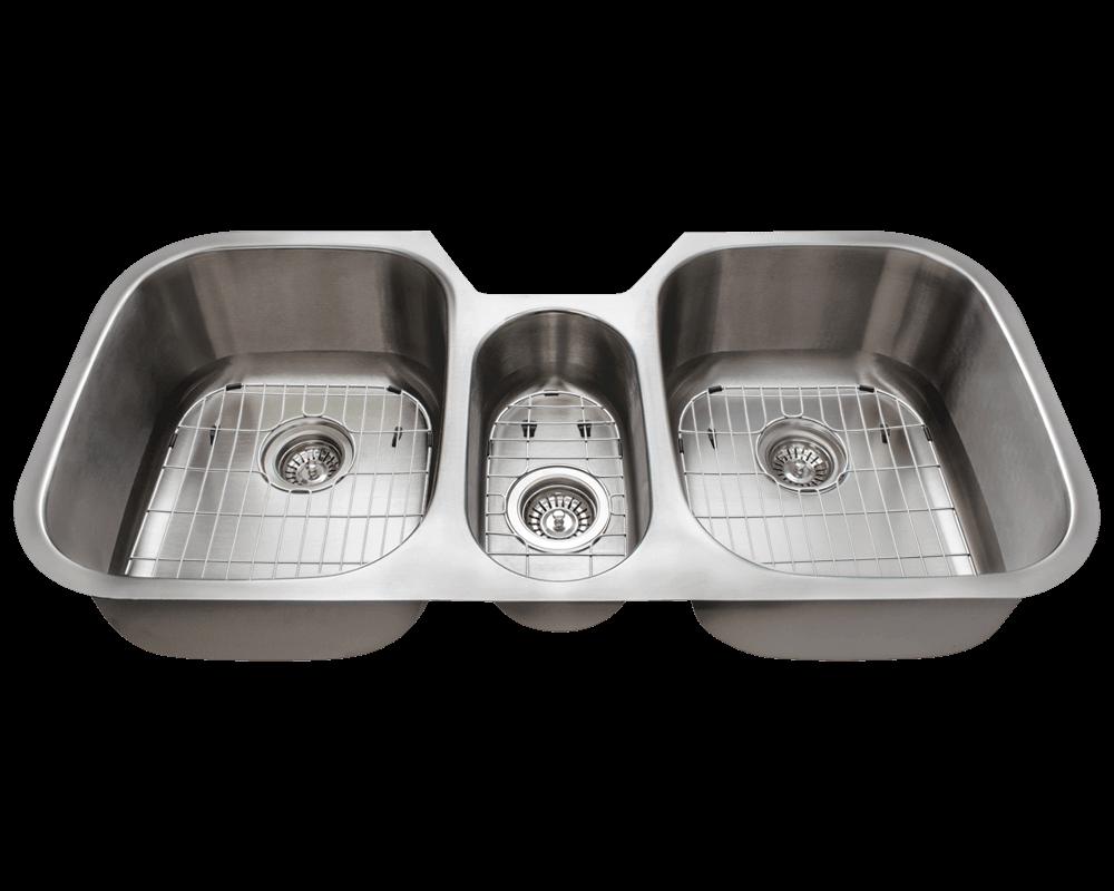 4521 triple bowl stainless steel