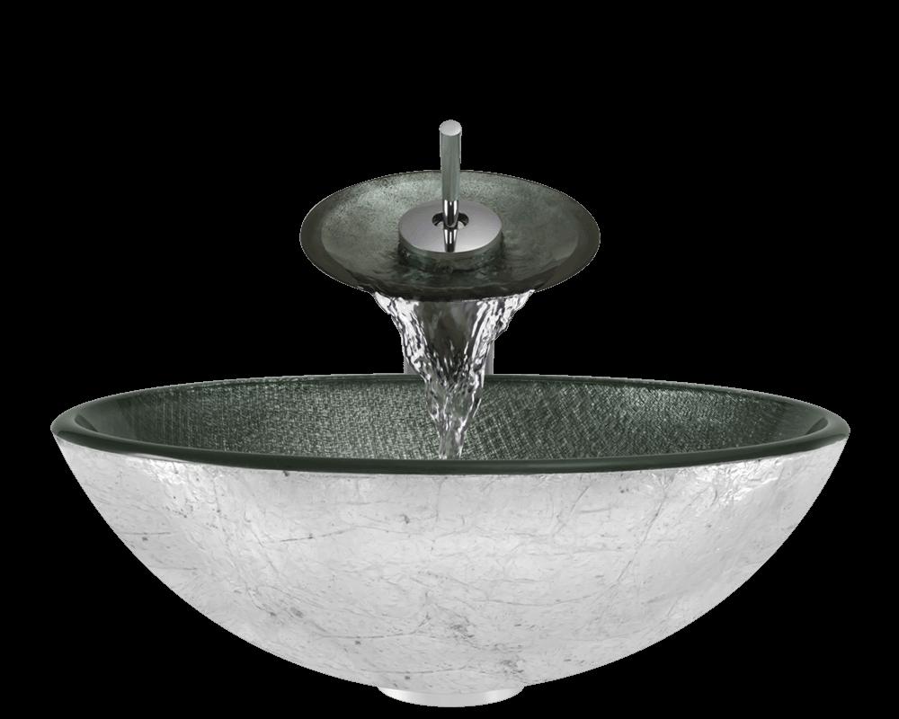 617 silver mesh glass vessel sink
