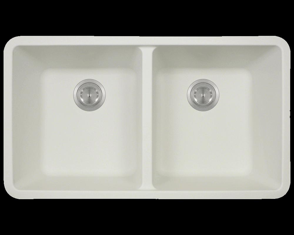 802 white double equal bowl quartz granite kitchen sink