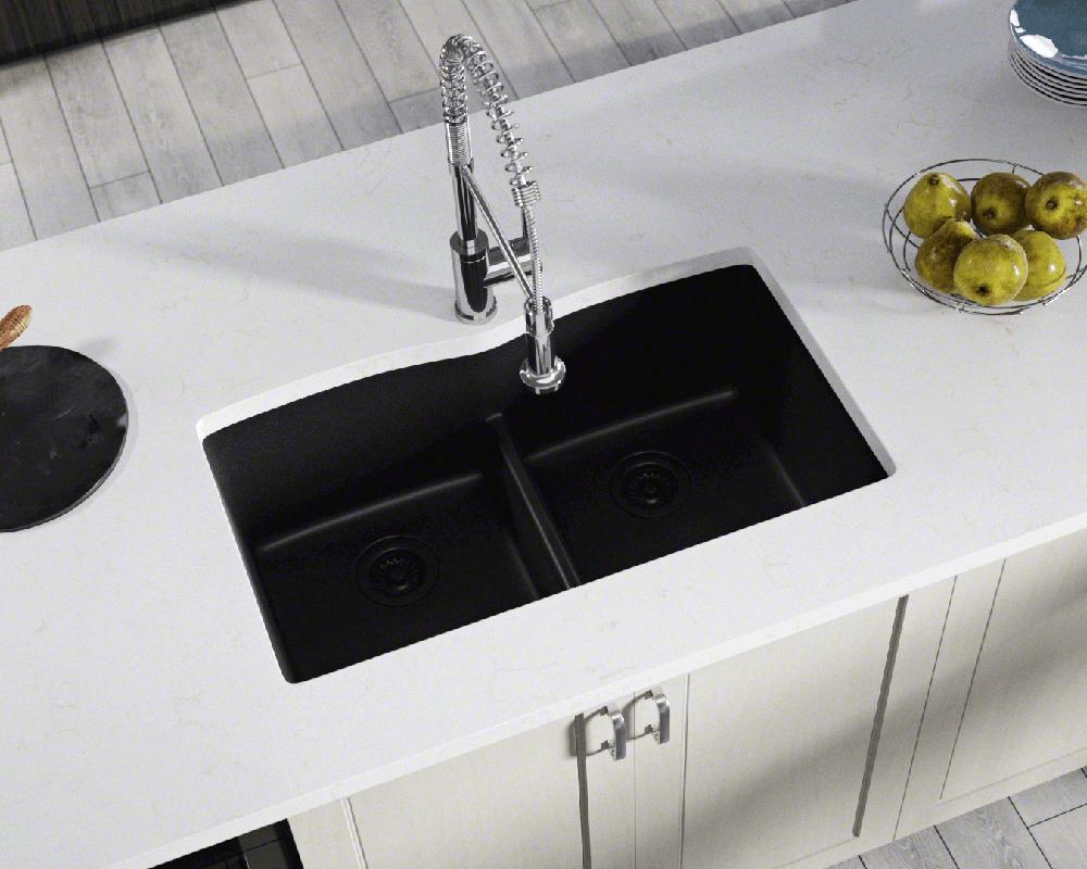 812 black equal bowl low divide undermount quartz granite sink