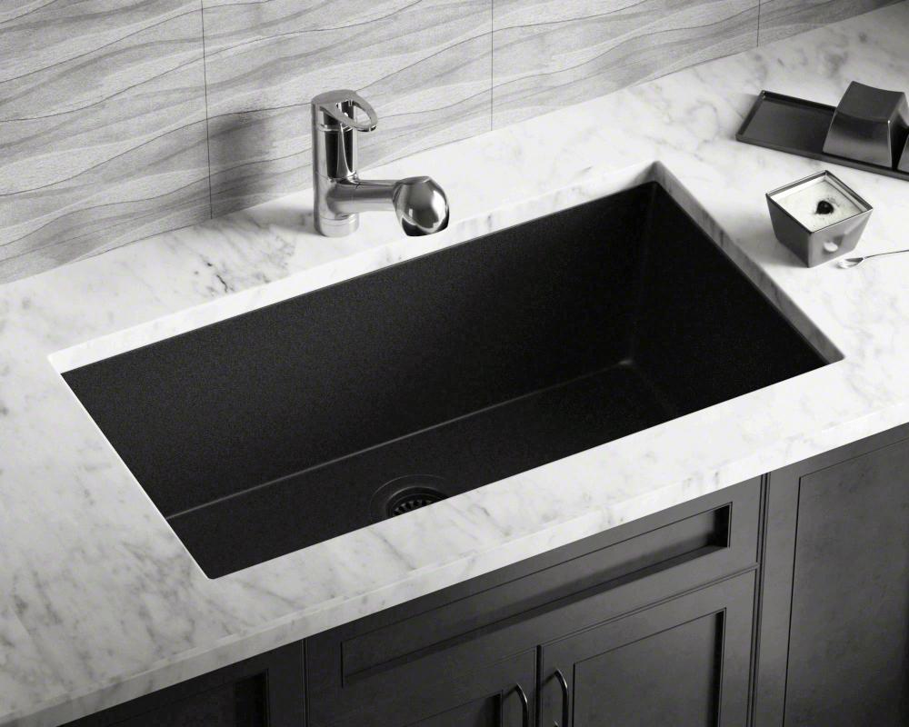 848 black single bowl undermount quartz granite sink