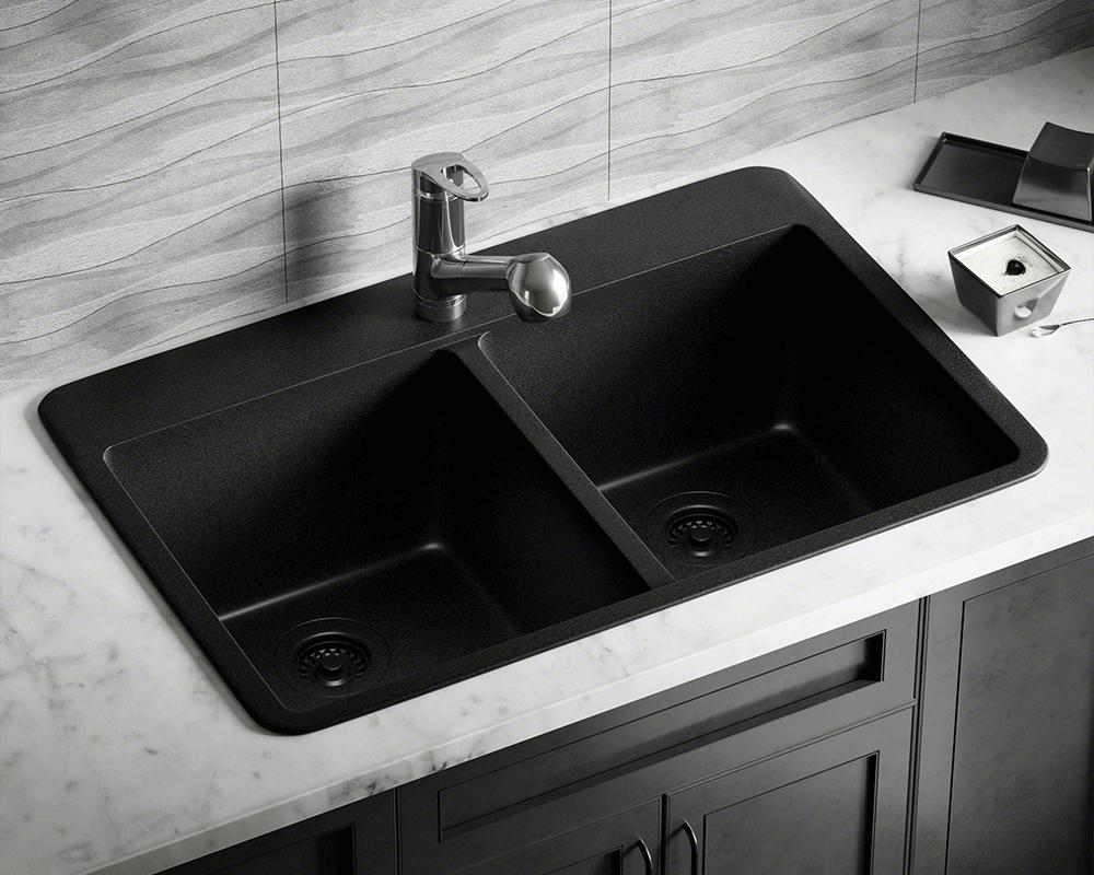 t802 black double equal bowl topmount quartz granite sink