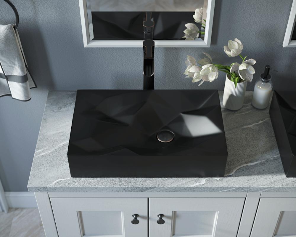 v430 matte black porcelain vessel sink